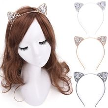 Glitter Crystal Cat Ear Hairband Fashion High Quality Hollow Metal Hair Band Girls Costume Party Hair Accessories(China)