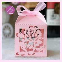 50pcs/lot Party decoration supply Wedding Favor Boxes carved roses wedding card album Candy Box with Ribbon Items Accessories(China)