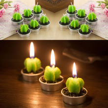 Buy Fashion 6pcs Non-spill Cactus Pumpkin Candle Decorative Tea Light Candles Green plant Cute Party Candles for $1.11 in AliExpress store