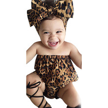 Fashion Girls Summer Baby Boys Girls Clothes Sets Kids Toddler Baby Girls Leopard Top Blouse +Pants Headband Outfits Set Suit(China)