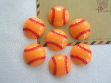 Free Shipping! Orange Baseball Softball, Resin Flatback Cabochon for Jewelry Accessory Hair Bow Center DIY (25mm)