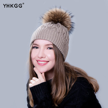 YHKGG  In 2016 The Real Practical Fur Hats During The Winter Hot Young Boys and Girls Pom Fur Fur Hat Pompom