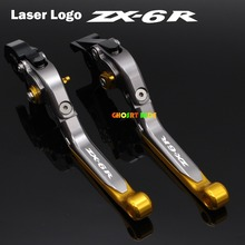 For Kawasaki Ninja ZX6R ZX-6R 2000-2004 2001 2002 2003 2004 CNC Folding Extendable Motorcycle Brake Clutch Levers Laser Logo