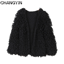 CHANGYIN Black Cardigan Sweater For Women Round Collar Long Sleeve Fashion Solid color Knitted Open Front Cardigan Coat(China)
