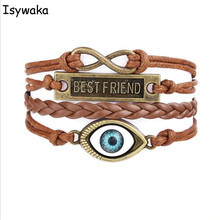 Isywaka U Pick Deisgn Vintage Braided Leather Bracelet Cords Wrap Bangles For Men Women Charm Bohemia Bracelet Gift(China)