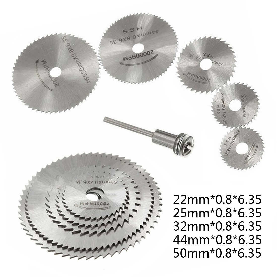 10pcs Set Rotary Tool Circular Saw Blades Cutting Wheel Discs Mandrel for Dremel