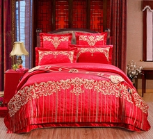 4/6/9 Pcs Luxury Silk cotton Jacquard red Bedding Sets King/Queen Size Wedding Bedclothes Bedspread duvet Cover /Pillowcases