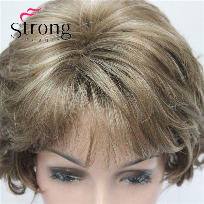 E-7125 #12TT26 New Wavy Curly Wig Light Brown Mix Blonde Short Synthetic Hair Full Women's Wigs (4)