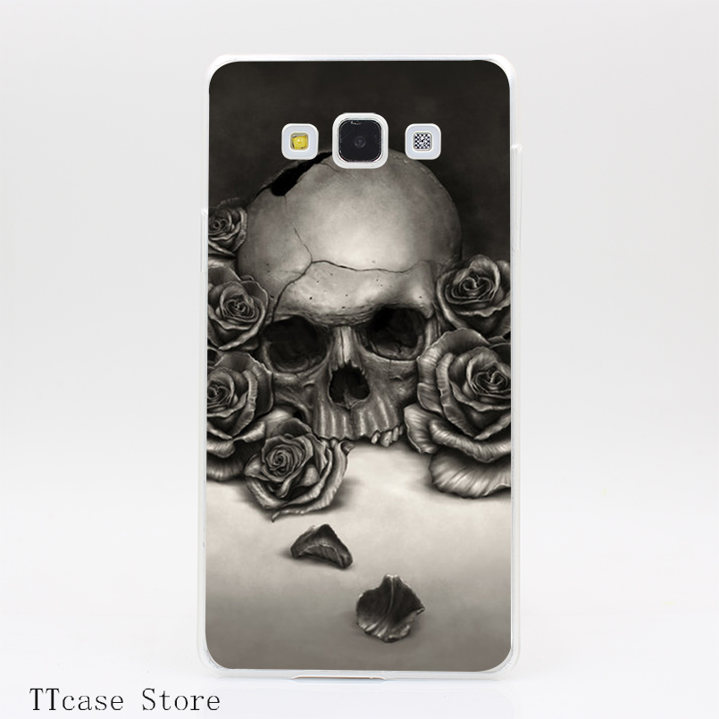 3145CA Skull and Roses Transparent Hard Cover font b Case b font for Galaxy A3 A5