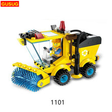 GUSUG 1101-1104 City Construction Road Roller Forklift Truck Tractor Sweeper Truck Building Block Kids Toys