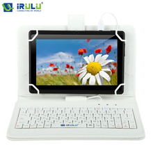"Original iRULU RUSSIAN KEYBOARD for 10""Tablet PC Using Russian Language People Leather Micro USB Keyboard Case White New Hottest"