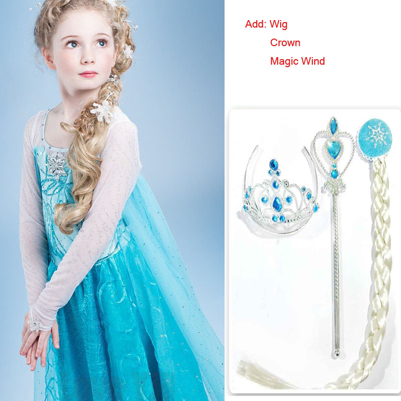 2017 Summer children clothing girl dresses Anna Elsa Princess Dress For infant kids costume party wedding Add Crown WIG MAGIC<br><br>Aliexpress