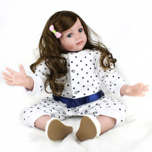NPKDOLL 24 Inch 60 CM BeBe Reborn Toddler Realistic Girl Doll With Long Hair Wig Handmade Soft Silicone Baby Doll Gifts