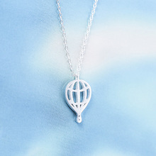 Daisies 925 Sterling Silver Hot Air Balloon Necklaces & Pendants For Women Fashion Girl Sterling-silver-jewelry Bijoux Femme(China)