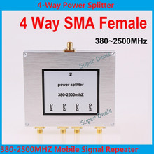 5pcs/lot  380~2500MHz 4-way SMA Power Divider Splitter For Mobile phone repeater wifi booster divider Satellite Diplexer