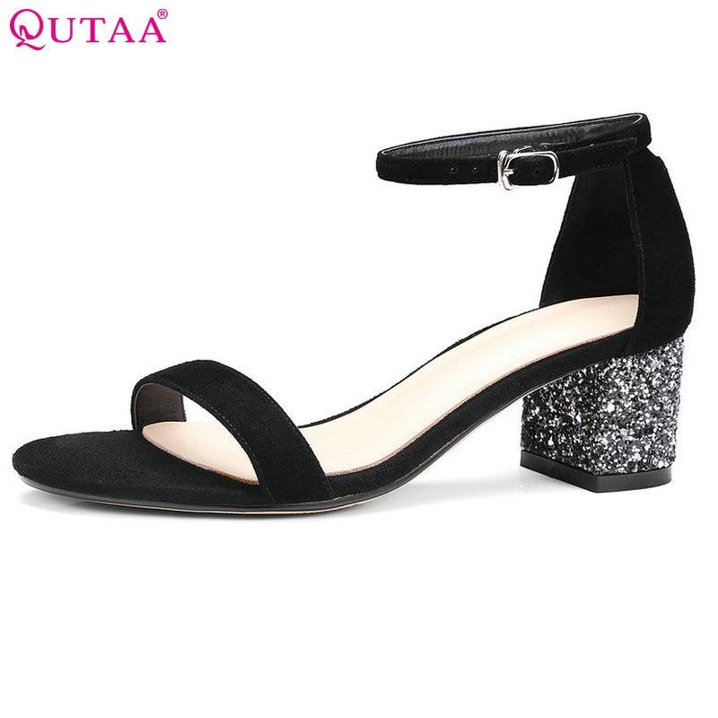QUTAA 2017 Women Sandals Square Med Heel Platform Women Shoe Ankle Strap Black Genuine Leather Ladies Wedding Shoes Size 34-39<br>
