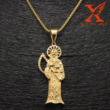 "24"" 3MM Holy Saint Death Santa Muerte Skull Gold Pendant Charm Necklace Box Chain(China)"