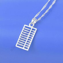 "JEXXI Fast Shipping Stock Wholesale Fashion 925 Sterling Silver Charms Abacus Pendant Necklaces+18"" Singapore Chains Hot"