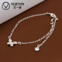 Fashion silver plated Jewerly Anklets for Women Bridal Party Anklets barefoot sandals Wholesale Cheap(China)