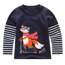 Baby Boy Sweatshirt with Animal Applique 2017 Brand Children Autumn Long Sleeve Tops Boys Clothes Striped Kids T shirts for Boy(China)