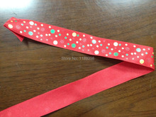 "38mm(1.5"")  Christmas Xmas wired edge ribbon Red W/ dot printing 25yards roll Free Shipping"