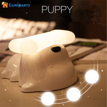LumiParty Puppy Nightlight Usb Charging Dog Bedside Lamp Stepless Light Regulating Timing Touch Induction Atmosphere Lamp(China)