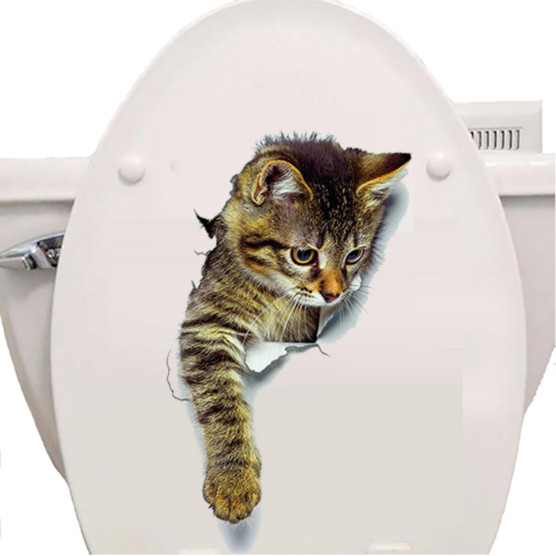 Cats 3D Wall Sticker Toilet Stickers Hole View Vivid Dogs Bathroom Cats 3D Wall Sticker Toilet Stickers Hole View Vivid Dogs Bathroom HTB1