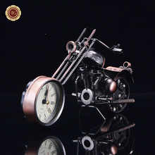 WR Motorcycle Decoration Vintage Bronze Motorcycle Clock Desk Decoration Small Model Figurines Toy Worth Collection