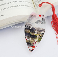Chinese style bookmarks China south cities traditional buildings marker ancient leaf bookmark made of Leaf veins ,set of 5