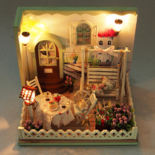 DIY Wooden Secret Garden Dollhouse Miniature Furniture Swing LED Light Kits Doll House Birthday Gift Handmade Puzzle Toys