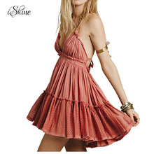 Buy 2018 Summer Bohemian Women Mini Dress Backless Strappy Beach Dress Holiday Boho Halter Sexy Ball Gown Hippie Chic Please Dresses