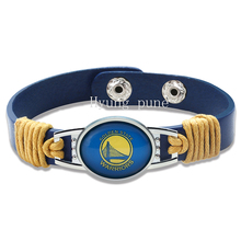 6pcs/lot! Golden State Basketball Genuine Leather Adjustable Bracelet Wristband Cuff 12mm Blue Leather Snap Button Charm Jewelry