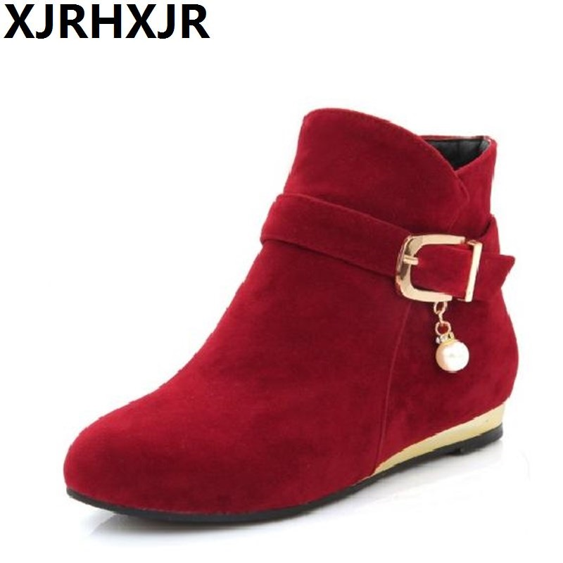 XJRHXJR Large Size 33-43 Shoes Woman Flat Heels Martin Boots Fashion Suede Leather Conform Winter Shoes Ladies Ankle Boots Red <br>