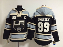 Best Quality Los Angeles Kings Mens Ice Hockey Hoodies #99 Wayne Gretzky Black,Embroidery Logos,Accept Mix Orders for sale(China)