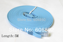 Free shipping 5M CAT6 RJ45 cable Flat UTP 10/100/1000Mbps Ethernet Network Cable For PC Router DSL Modem