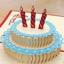 3D postcard for Birthday with Cake Shaped Happy Birthday Card Good Gift for Children