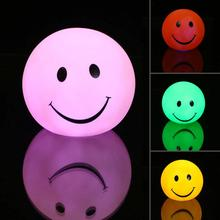 Night light Lovely changable color Round Smile Face LED lamp, 7 colors changing Smiling nightlight For Baby / Children gift toy