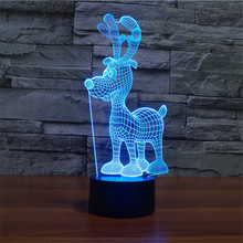 3D Mini Deer Night light Colorful touch charging Lamp Christmas lights visual lights Home decor night light Creative table lamp(China)
