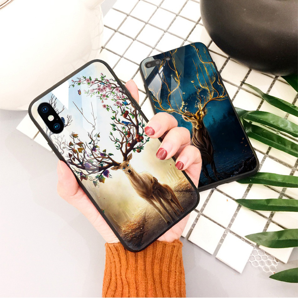 TOMKAS Animal Glass Case For iPhone X 8 7 10 6 Cover Phone Cases For iPhone X 7 8 6 6s Plus Case Luxury Cute TPU PC Covers Coque (23)