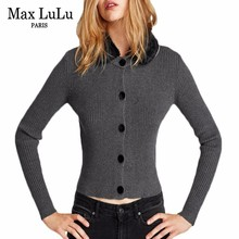 Max LuLu 2017 Korean Fashion Style Womens Fur Collar Cardigans Knitted Christmas Sweater Woman Winter Clothing Pull Hiver Femme