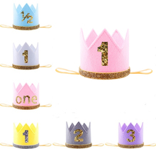 Boy & Girl First Birthday Crown Pink Yellow Gray Purple White 1st One 2nd Three Year Old Number Birthday Hat Children Headband