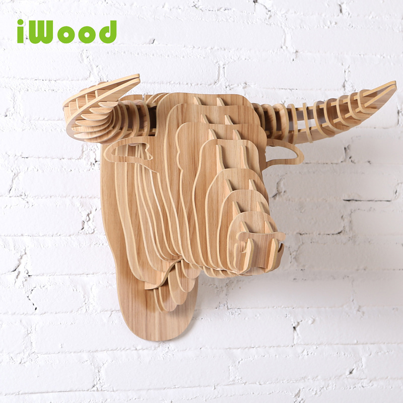 1 set 9 Colors 25 Inch 5mm MDF Wooden Animals Head Creative Bull Head Wall Hanging For Art Wall Decoration<br>
