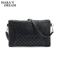 Mara's Dream Vintage Hollow Out Flower Envelope Bag Women Leather Crossbody bag Shoulder bag Messenger Clutch Handbag Purses