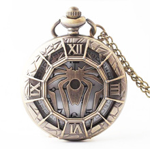 (1118) New Large Spider Fantasy Steampunk Goth Antique Bronze Pocket Watch Necklace size 47mm(China)