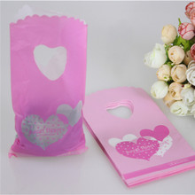Hot Sale New Style Wholesale 50pcs/lot Pink Sweet Heart Gift Packaging Bags Plastic Gift Pouches Lovely Mini Gift Bags