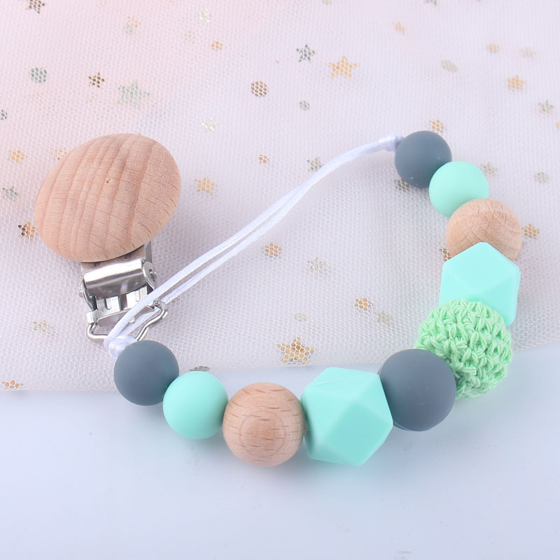 Lets Make Personalised Handmade Baby Natural Wooden Silicone Pacifier Clip Pram Chain Newborn//Toddler