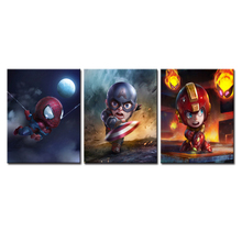 3 Pieces Cartoon Super Hero Man Modular Painting Canvas Wall Art Pictures for Living Room Home Decoration No Framed(China)