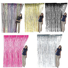 39''*78'' Gold /Red/Blue/Silver/fuschiaTinsel Shimmer Foil Door Curtain Birthday Halloween Party Decoration
