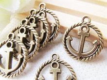 20pcs Antique Silver tone/Antique Bronze Filigree Round Circle Anchor Connector Pendant Charm/Finding,DIY Accessory Jewelery Mak