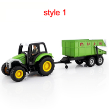 Farm vehicle model toys tractor fruit and vegetable cart dumpers timber truck flatbed truck fuel tank car(China)